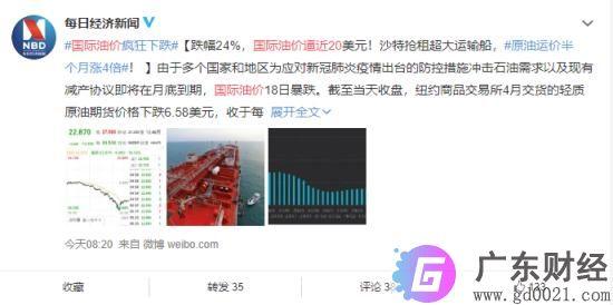 国际油价逼近20美元 跌幅为24.42% 对中国经济产生什么影响